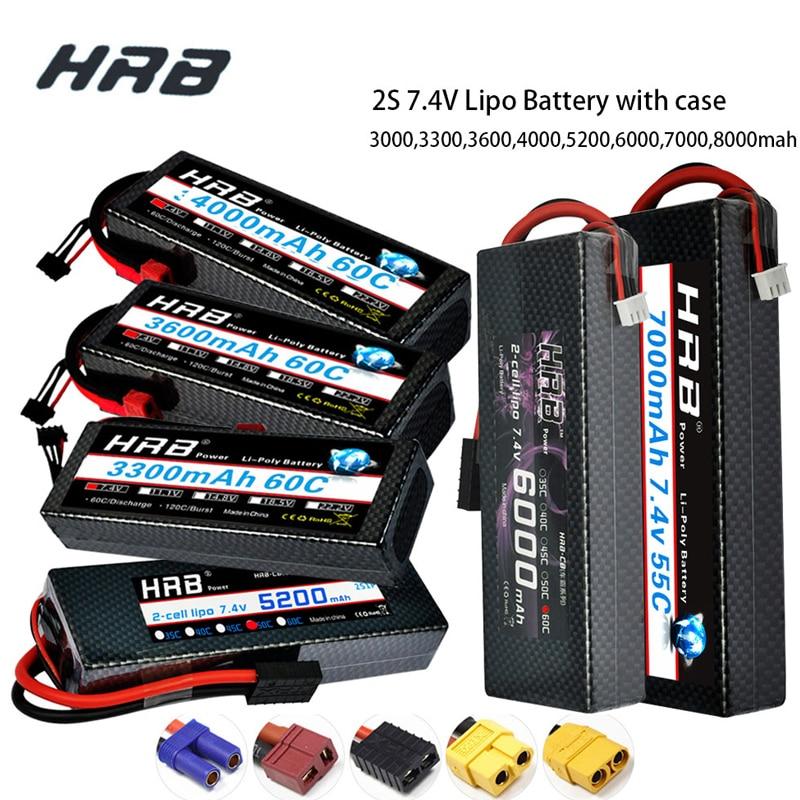 HRB 2S 7.4V RC Lipo Battery 3300mah 4200mah 6000mAh 7000mah 8000mah 100C Hard Case For Traxxas 1/10 Scx10 1/12 RC Monster Cars