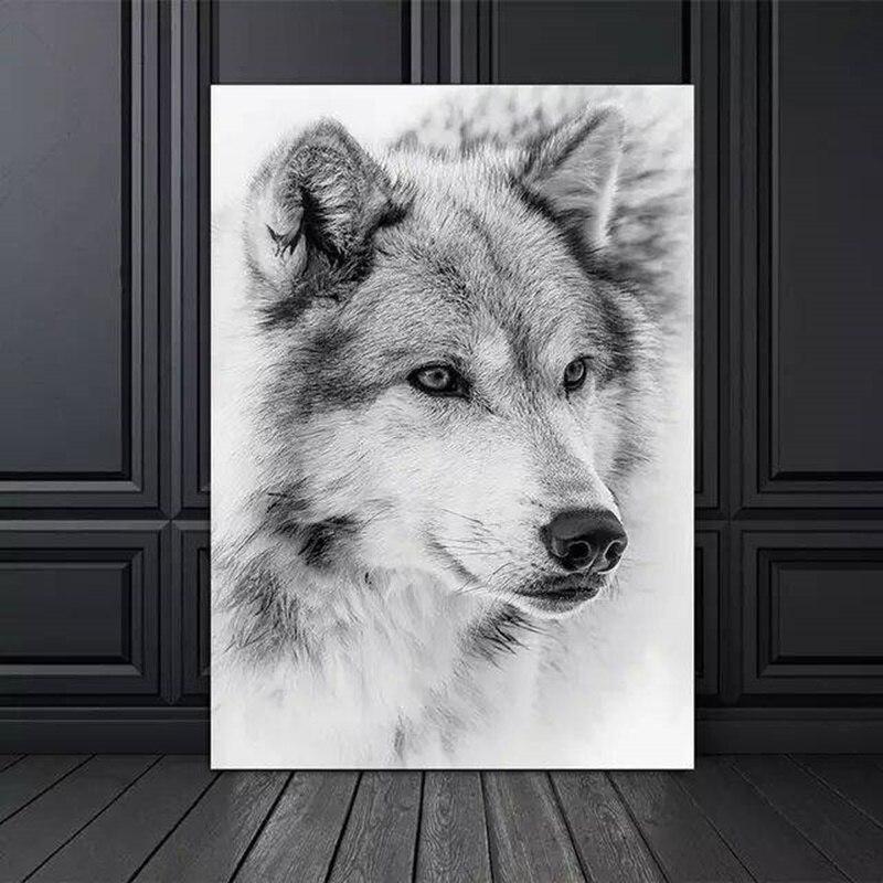 Minimalismo moderno estilo preto e branco legal lobo animal pintura da lona posters e impressões fotos de parede para sala estar decoração