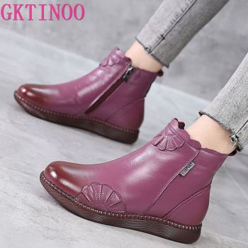 GKTINOO 2020 Winter Genuine Leather Ankle Boots Handmade Lady Soft Flat Shoes Comfortable Casual Moccasins Side Zip Ankle Boots genuine leather shoes women boots 2020 autumn winter fashion handmade ankle boots warm soft outdoor casual flat shoes woman