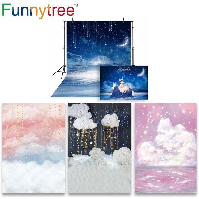 Funnytree foto pano de fundo fotografia estúdio noite estrelado céu estrelas nuvem chuveiro do bebê fundo photozone vinil floor photophone