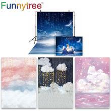 Funnytree תמונה רקע צילום סטודיו לילה כוכבים שמיים כוכבים ענן תינוק מקלחת רקע photozone ויניל רצפת photophone
