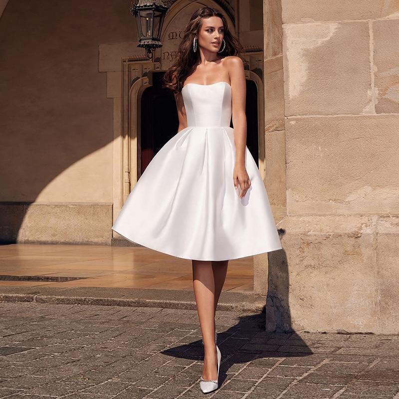 Robes De Mariée Luxury Matte Soft SatinBall Gown Wedding Dresses Tube Top Halter Sweetheart Gowns Knee-length Tailor-Made
