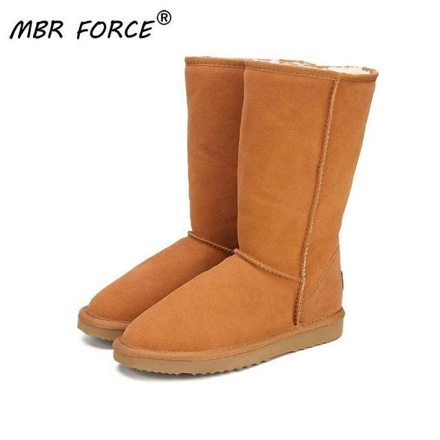 ה MBR כוח אמיתי עור פרווה שלג מגפי נשים למעלה באיכות גבוהה אוסטרליה מגפי חורף מגפי נשים חם Botas Mujer