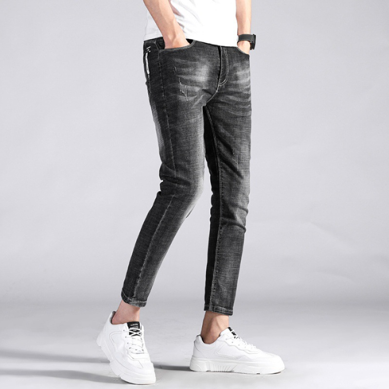 613 # New Style Jeans MEN'S Ninth Pants Elasticity Korean-style Skinny Pants 9 Pants Black Gray