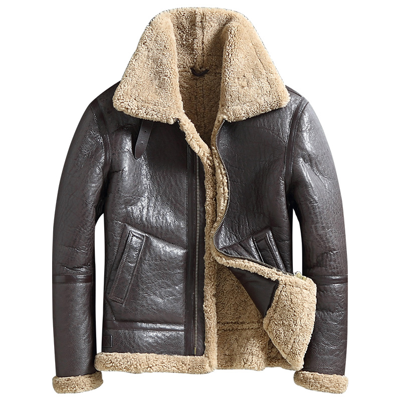 Men Genuine Leather Jacket Outerwear Mens Fur Coat Turn Down Collar Shearling Short Style Real Leather Jackets Tops Warm Coats
