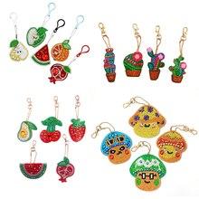 Huacan Diamant Borduurwerk Sleutelhanger Fruit 5D Diamant Schilderen Sleutelhanger Handmake Geschenken Zak Decoraties