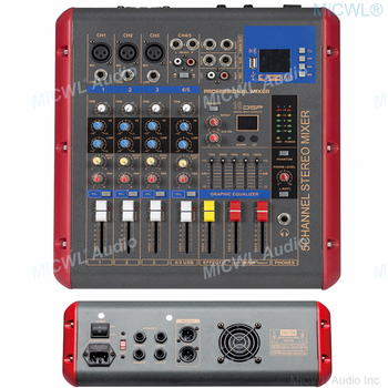 MiCWL 5 Channels 1200W Power Amplifier Mixing Console Mixer Bluetooth Record DSP effect 2x600W Professional USB Microphone Mixer
