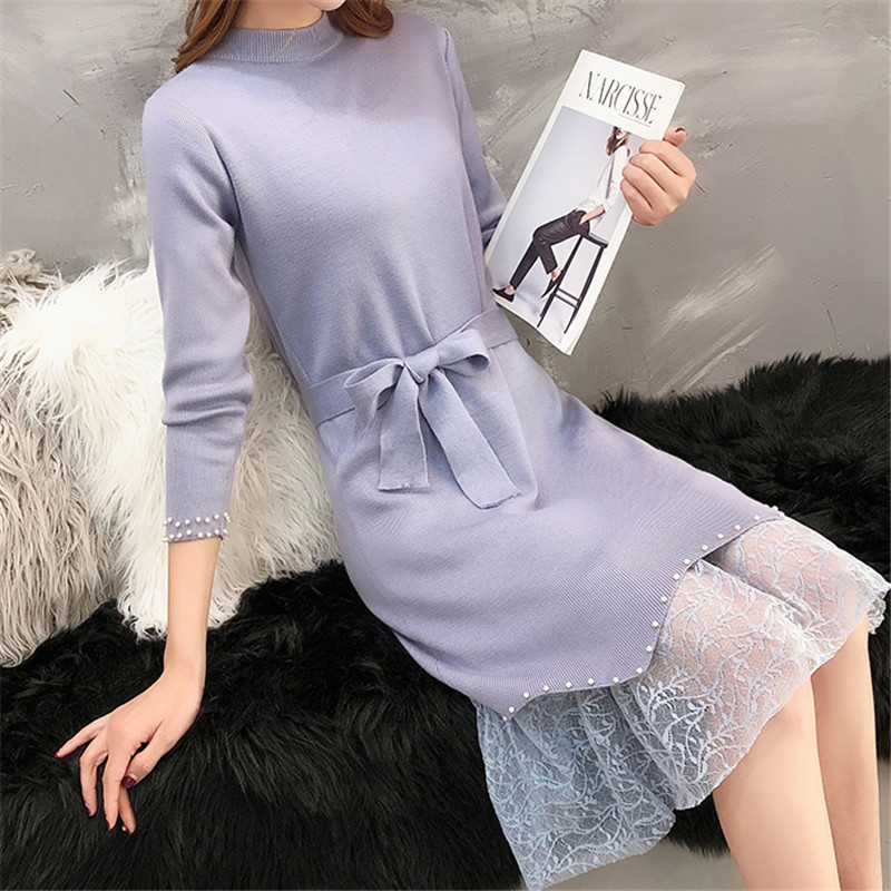 Korean Fashion Women Sweater Dress Woman Knitted Dresses Elegant Lace Patchwork Sweaters High Waist Beading Womens Pullovers