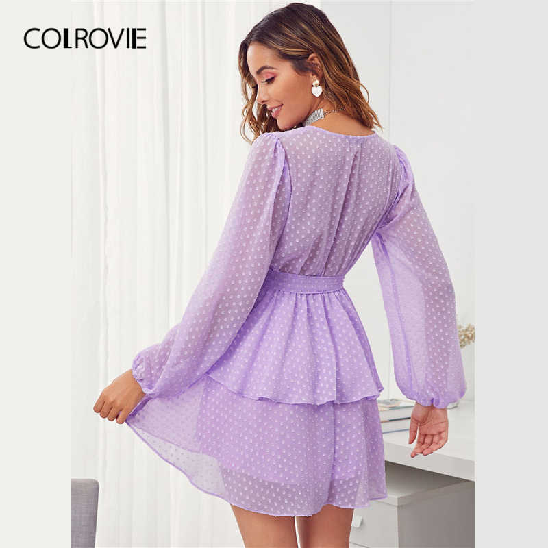 COLROVIE/фиолетовое платье с глубоким вырезом и двойным слоем, швейцарское платье в горошек, женское платье с рукавом «Бишоп» 2019, сексуальные женские платья с высокой талией