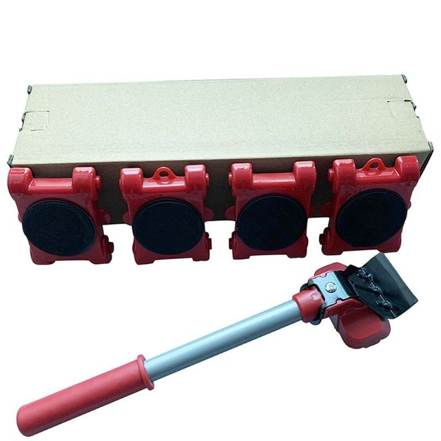 Furniture Mover Tool Transport Lifter Heavy Stuffs Moving 4 Wheeled Roller with 1 Bar Set 3