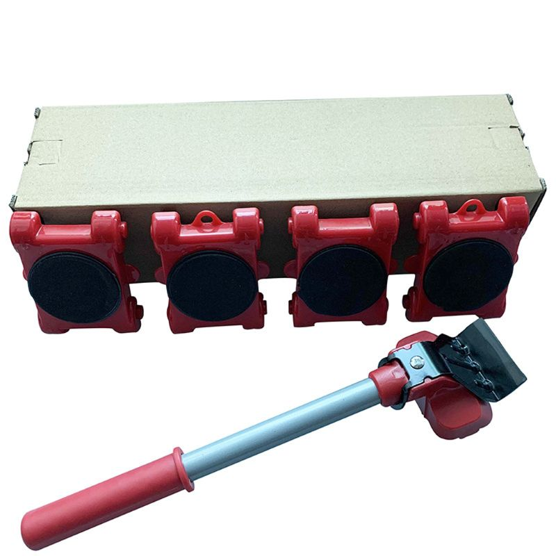 Furniture Mover Tool Transport Lifter Heavy Stuffs Moving 4 Wheeled Roller with 1 Bar Set-2