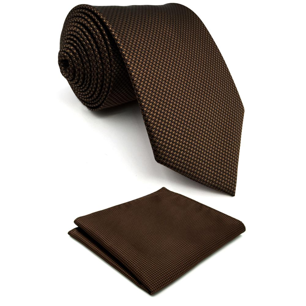 U27 Brown Houndstooth Mens Necktie Set Handmade Wedding Fashion 63