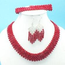 Классический красный кристалл, свадебное ожерелье, ожерелье, браслет. Серьги. Ожерелье с пряжкой Регулируемый
