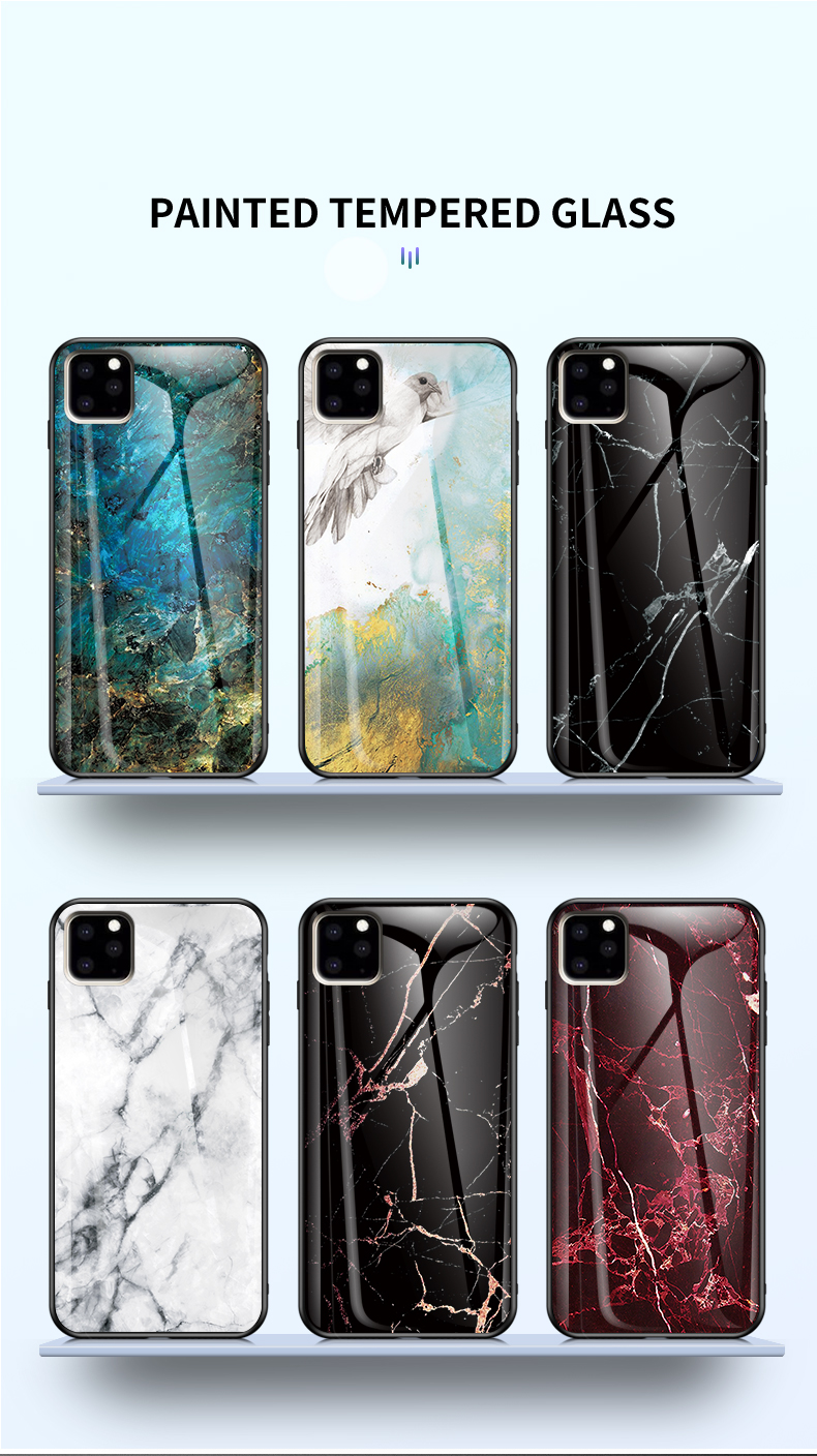 KEYSION Marble Tempered Glass Case for iPhone 11/11 Pro/11 Pro Max 34