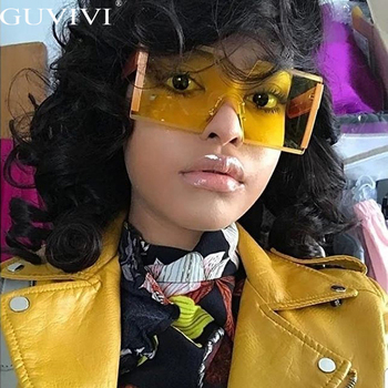 Gafas de sol cuadradas sin montura de gran tamaño a la moda,...