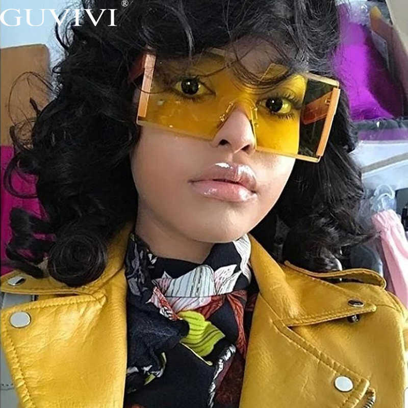 Fashion Kebesaran Square Tanpa Bingkai Kacamata Hitam Wanita Merek Desain Datar Besar Berjemur Kacamata Perempuan One Piece Perjalanan Gafa De Sol