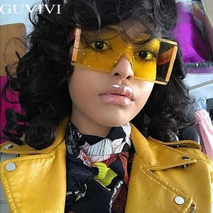 Fashion Oversized Square Rimless Sunglasses Women Brand Designer Flat Top Big Sun Glasses Female One Piece Travel Gafa de sol