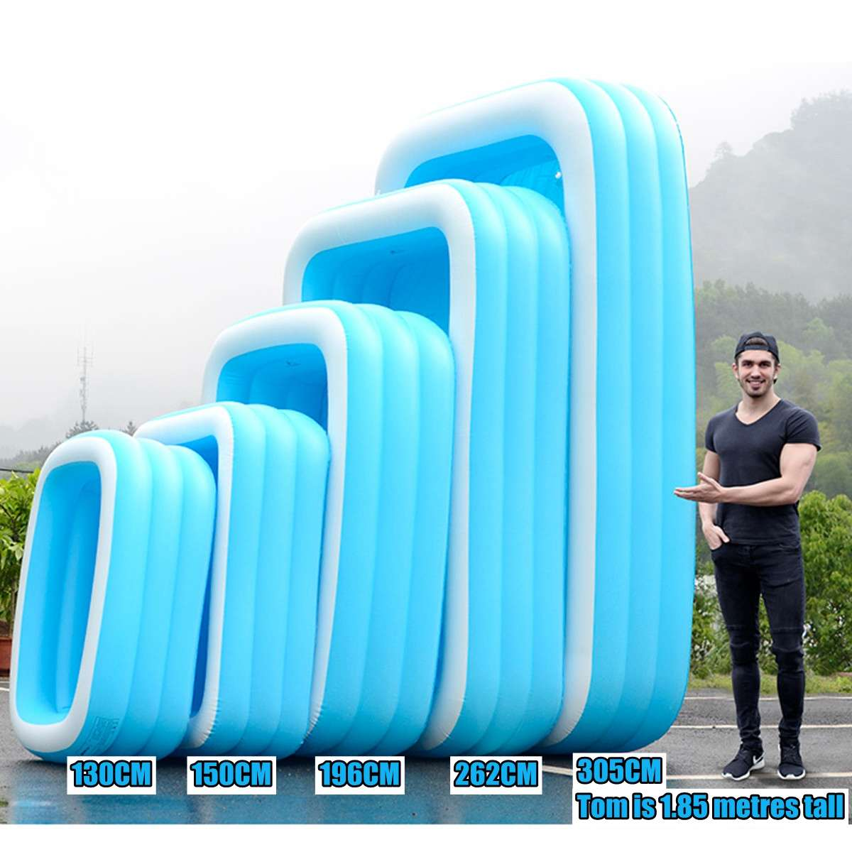 Thicken Inflatable Swimming Pool Adults Kids Pool Bathing Tub Outdoor Indoor Swimming Pool Nflatable Bathtub 110cm-305cm
