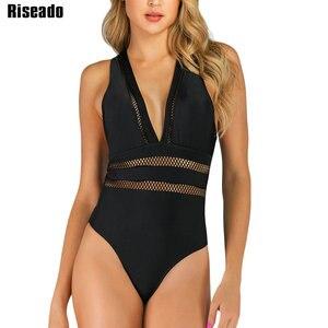 Image 1 - Riseado Sexy tłoczenie jednoczęściowy strój kąpielowy kobiety nowy Mesh stroje kąpielowe pani krzyż bandaż czarny plaża nosić letnie kąpiących