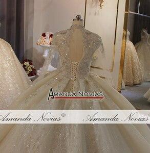 Image 4 - Lange ärmeln dubai luxus hochzeit kleid puffy ballkleid mit langen zug nach auftrag hochzeit kleid