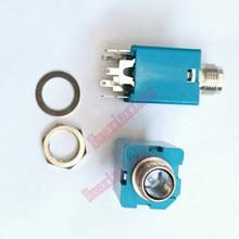 Microfone de áudio estéreo, 20 pçs/lote 6.35mm/6.35 jack fêmea/soquete conector 5p/3p azul/preto