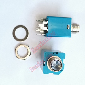 20PCS/Lot 6.35mm/6.35 Stereo Audio Microphone Female Jack/Socket Connector 5P/3P Blue/Black