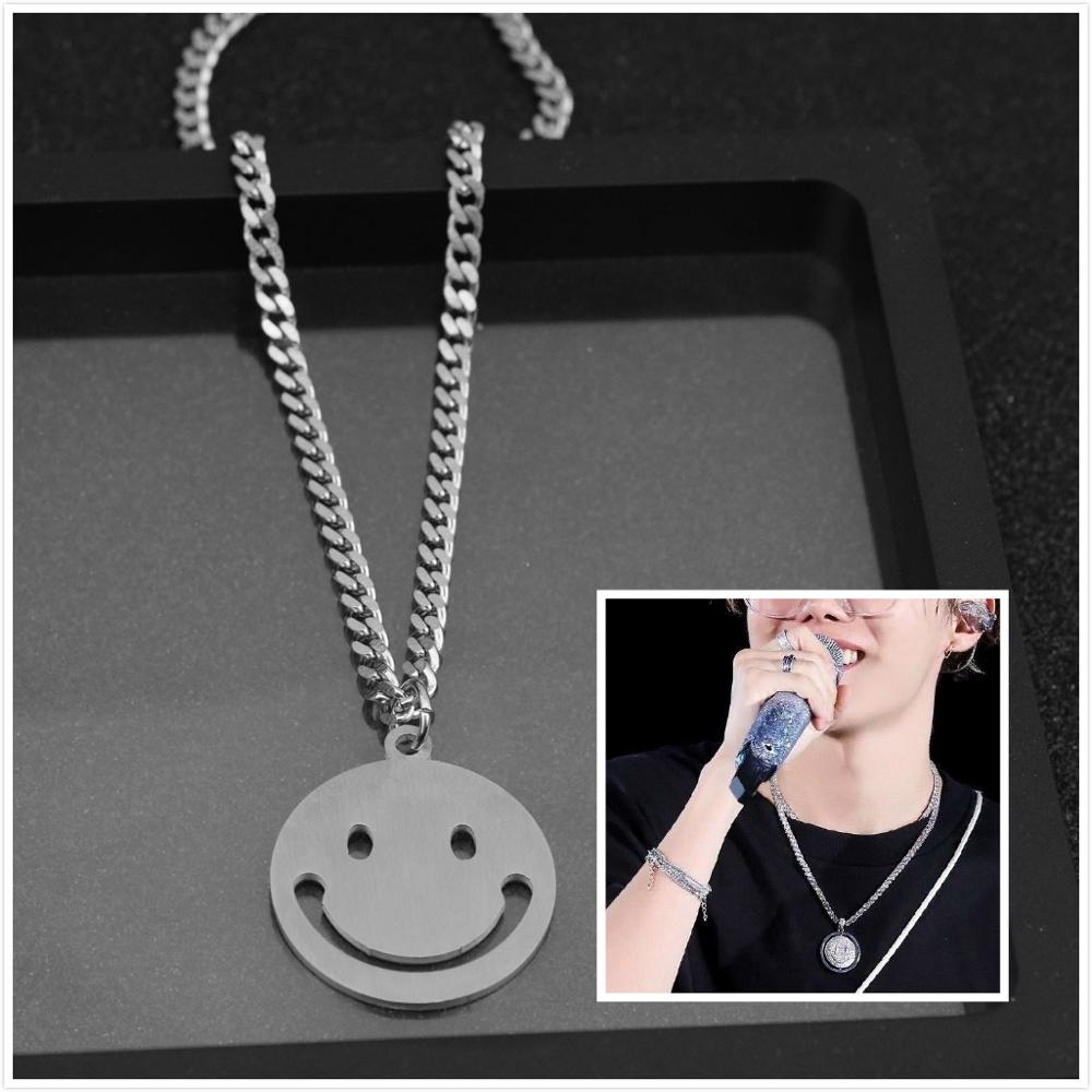 J-hope Same Jewelry Fashion Stainless Steel Necklace Smile Face Pendant Chain Choker Necklace Men Women Gift kpop(China)