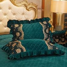 2pcs Crystal Velvet Quilted Cotton Lace Pillow Case Cover Rectangle Home Decor Pillow Sham Winter Warm 48x74cm
