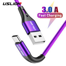 USLION 3A USB Type C Data Cable For Samsung Galaxy S10 S9 Xiaomi Redmi Note 7 Huawei Fast Charging Mobile Phone Chargers 2m 3m