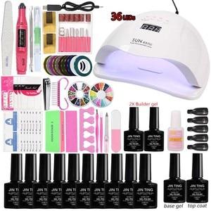 Image 2 - Manicure Set 36W/48W/80W&LED UV Lamp 10Pcs Gel Polish Set nail extension kits Nail Art Electric Manicure Machine Handle kit
