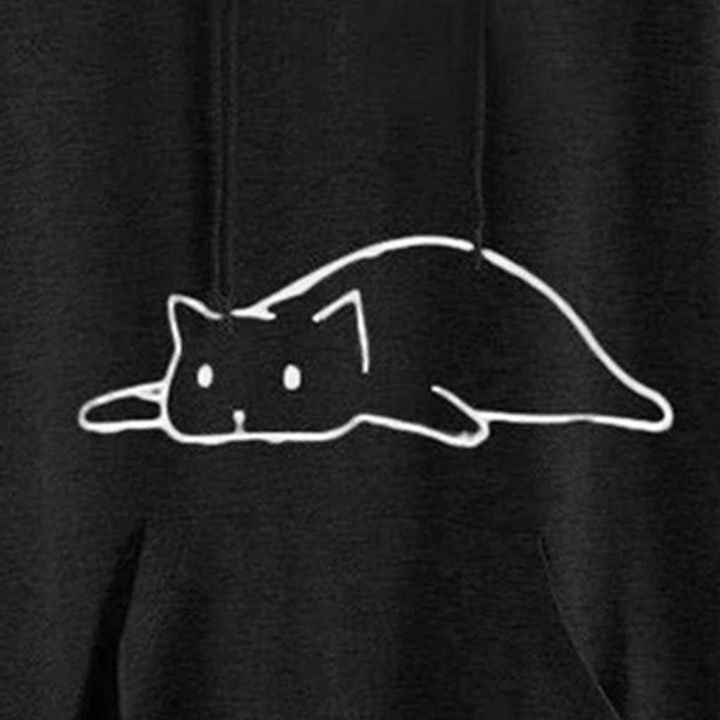귀여운 고양이 귀 여성 대형 후드 긴 소매 캐주얼 스웨터 탑스 하이틴 걸스 가을 루스 풀오버 포켓 블라우스 인쇄