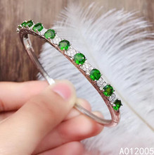 KJJEAXCMY fine jewelry 925 sterling silver inlaid Natural Diopside female bracelet classic support detection