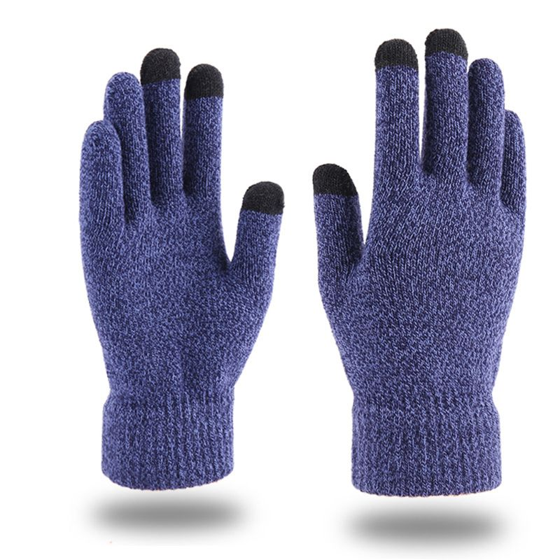 Women Men Winter Thick Warm Touch Screen Gloves Ribbed Cuff Plush Lined Mittens