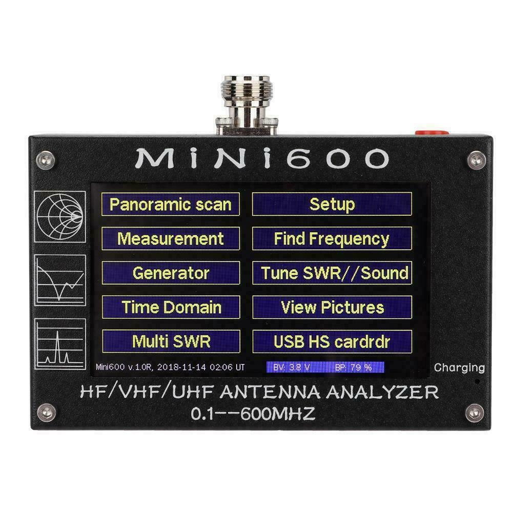 Mini600 4.3 Inch Press Screen 0.1-600MHz HF/VHF/UHF ANT SWR Antenna Analyzer Meter