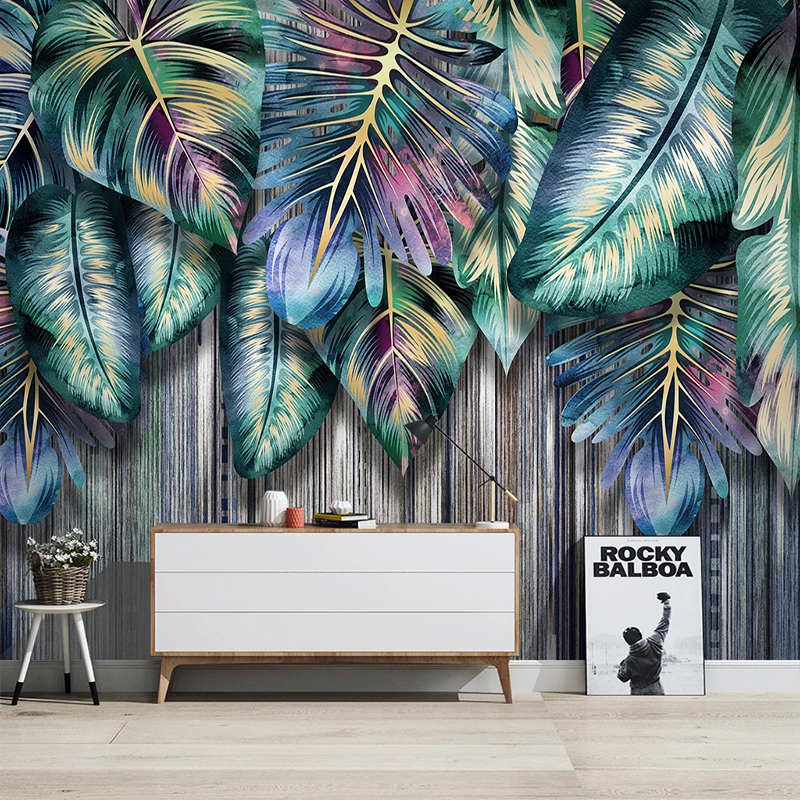 Drop Shipping Custom Photo  3D Creative Tropical Plant Leaves Murals  TV Sofa Bedroom Study Home Decor Luxury Wall Papers