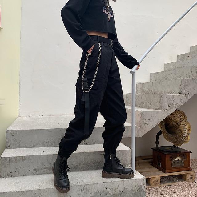 YBYR Big Pockets Cargo Pants Women Elastic High Waist Loose Streetwear Summer Pant Baggy Tactical Trouser Hip Hop Joggers Pants 5