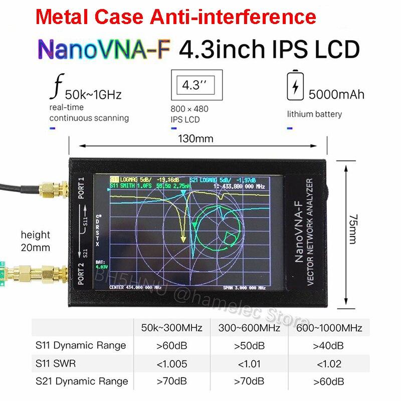 """NanoVNA-F Vector Network Analyzer HF VHF UHF VNA 50KHz-1000MHz 4.3/"""" LCD w// Case"""
