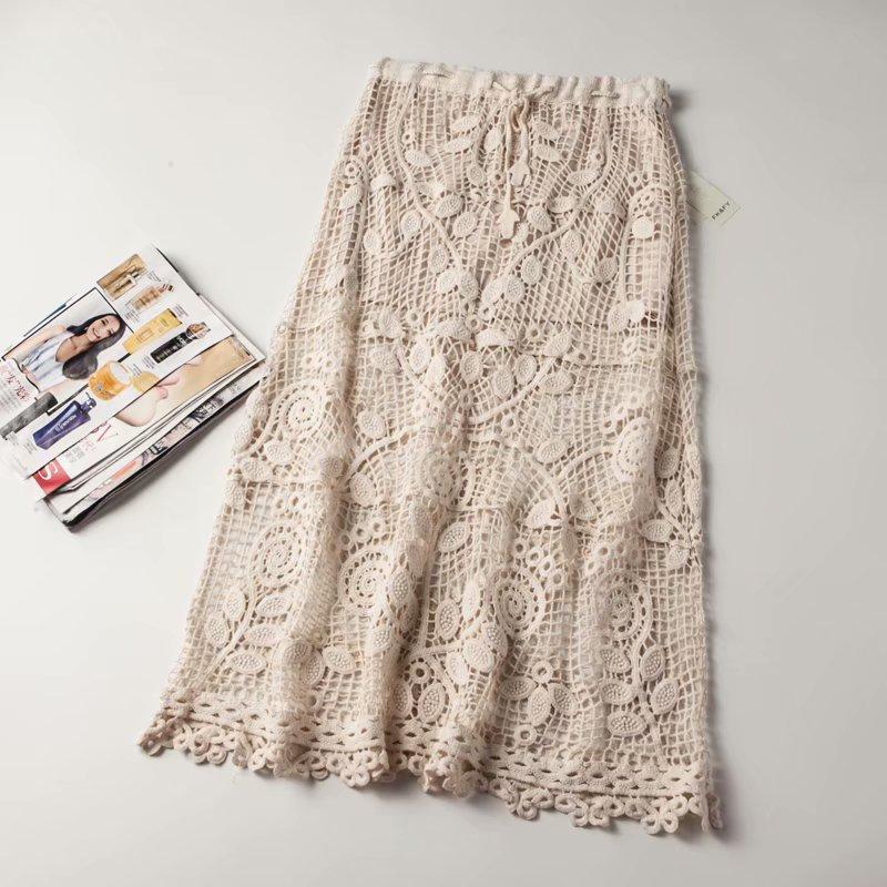 2020 High Waist Women Lace Crochet Beige Skirt Saia Women Elegant Summer Long Skirt Faldas Jupe Femme Women Boho A-Line Skirts