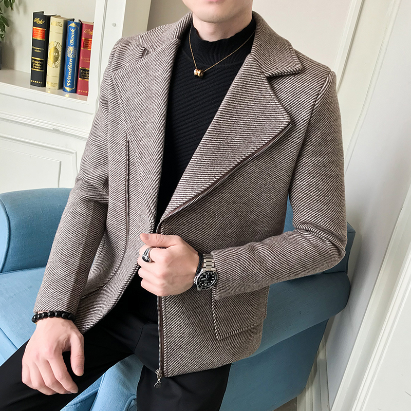 New winter tide men's casual diagonal zipper wool coat men's fashion striped woolen coat men suit collar short casual slim coats