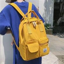 Canvas Yellow Casual Unisex Shoulder Bags Preppy Style Harajuku High Capacity Backpacks Satchels Normcore Zipper Knapsack