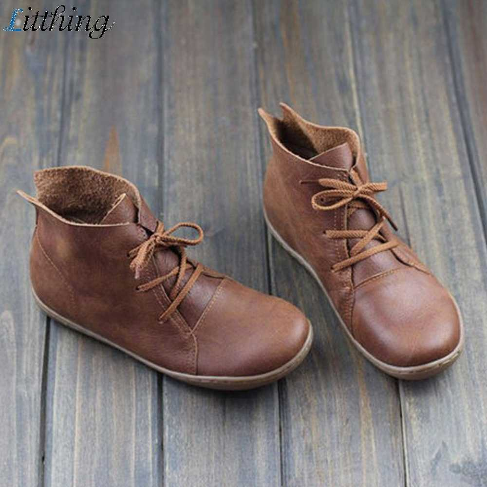 Litthing Retro Boots Women Hand-Sewing Zapatos De Mujer Genuine Leather Soft Bottom Shoes 2019 Woman Genuine Leather Botas Mujer