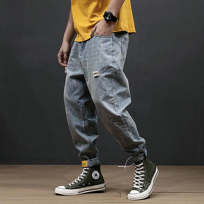 Fashion Streetwear Men Jeans Loose Fit Retro Blue Wash Ripped Jeans Men Harem Pants Big Size 28-42 Hip Hop Jeans Hombre