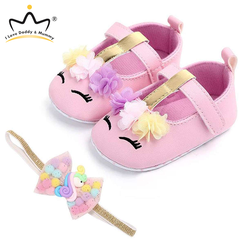 Baby Shoes Headband Set Cute Flower Unicorn Toddler Shoes For Girls Soft Sole Anti Slip Baby Girl Shoes First Walkers