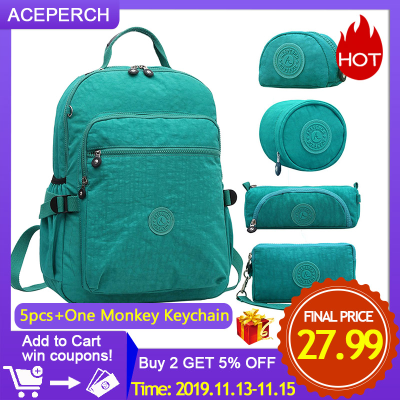 ACEPERCH Casual Original School Backpack For Teenage Mochila Escolar Travel School Bags Backpack For Laptop With Monkey Keychain