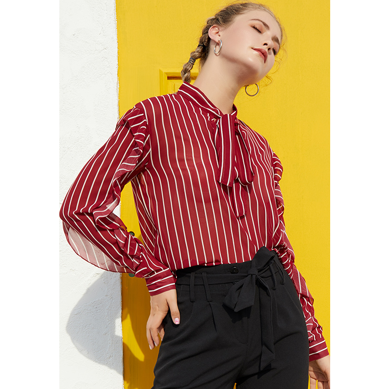 Only Plus Bowknot Flounce Hem Strip Blouse Autumn Spring V-Neck Long Sleeve Shirt Casual Shirt Female OL Blouse With Tessels