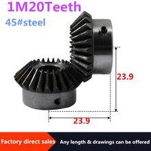 2pcs Bevel Gear 1M 20Teeth 45# steel inner hole 5mm/6mm/7mm/8 mm gear 90 degrees meshing angle Steel Gears Screw Hole M5