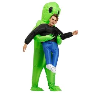 Image 3 - חדש פורים מפחיד ירוק Alien תחפושת קוספליי קמע מתנפח תלבושות מפלצת חליפת מסיבת ליל כל הקדושים תחפושות לילדים למבוגרים