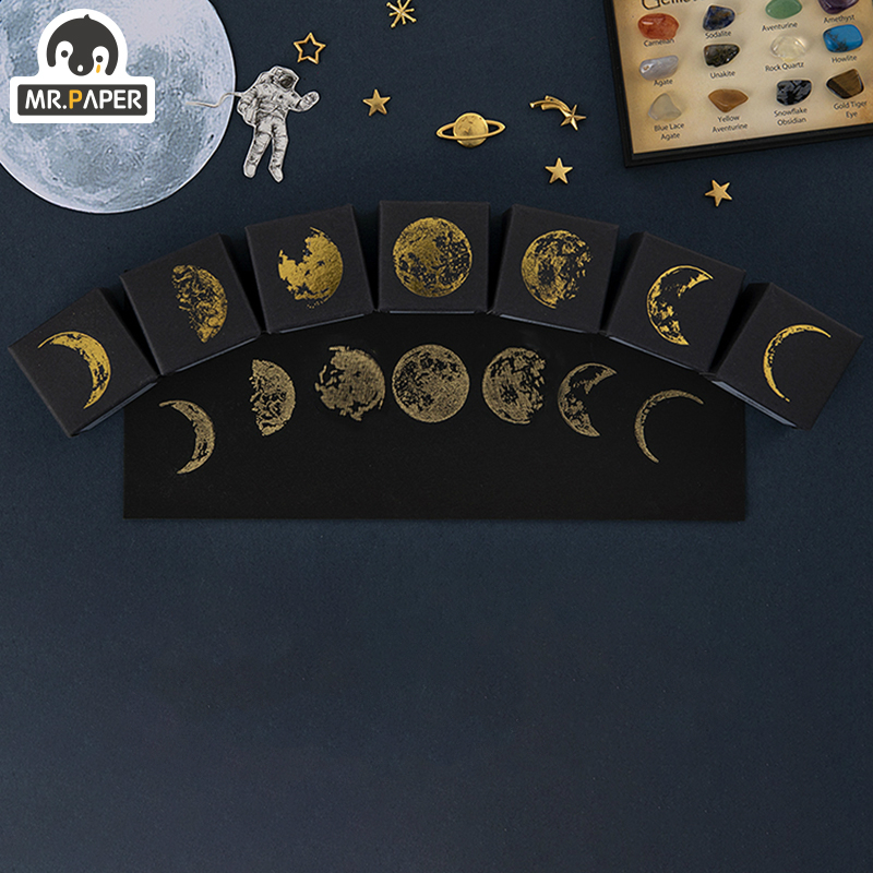 Mr.Paper 7 Designs Moon Phase Series Gold Space Hop-pocket List Log-Rubber Stamps for Scrapbooking Deco DIY Craft Wooden Stamps 5