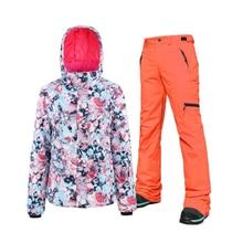цена на New Ski Suit Women Winter Waterproof Windproof Thicken Warm Snow Clothes Women Ski Sets Jacket Skiing And Jacket Pants Set