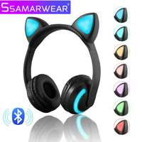Wireless Bluetooth Stereo Headphones Cat Ear Headphones Flashing Glowing Gaming Headset Earphone 7 Colors LED Light For Phone Pc